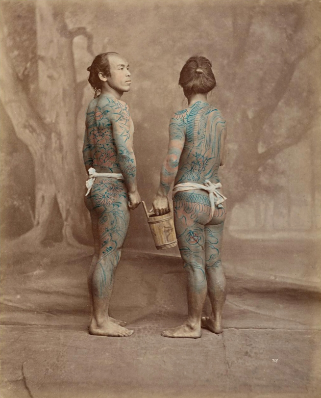 Baron Raimund von Stillfried (Austria 1839-1911, lived throughout Europe and Asia 1871-1910) 'No title (Tattooed bettōs, porters)' c. 1875, printed c. 1877-80