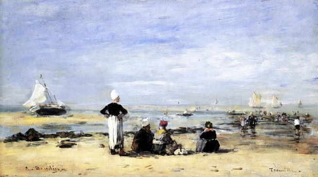 Eugène Boudin (France 1824-98) 'Low tide at Trouville' 1894