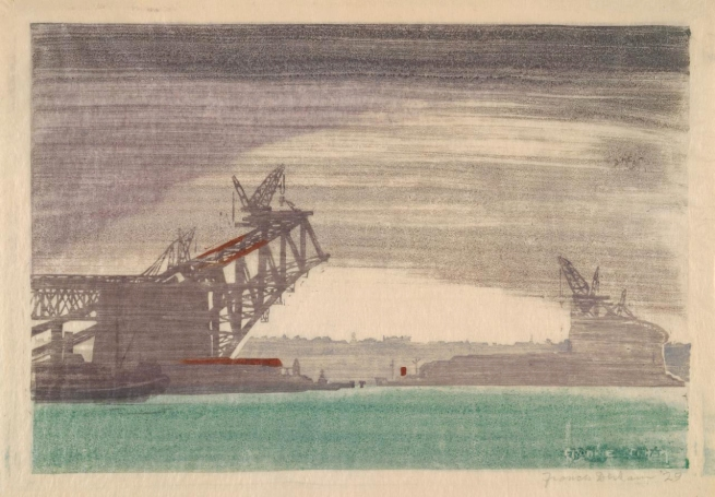 Frances Derham (Australia 1894-1987) 'Building the bridge' 1929