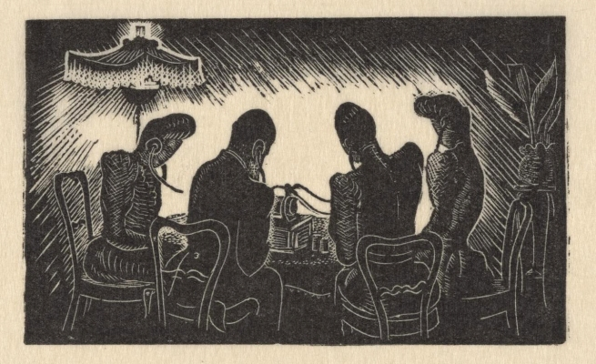 Helen Ogilvie (Australia 1902-93) '(Four figures seated at a table listening to a phonograph through earpieces)' c. 1947