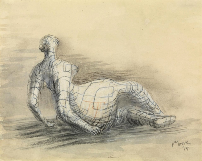 Henry Moore (England 1898-1986) 'Reclining figure distorted - Sectional line' 1979