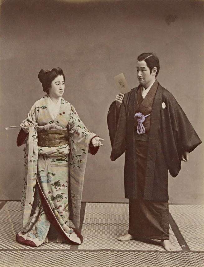 Kusakabe Kimbei (Japan 1841-1934) 'No title (Couple with a cabinet photograph and ghost in background)' 1880s