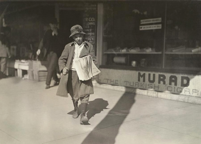 Lewis Hine (United States 1874-1940) 'Sam Pine, 8 year old truant newsboy who lives at 717 West California Street' 1917