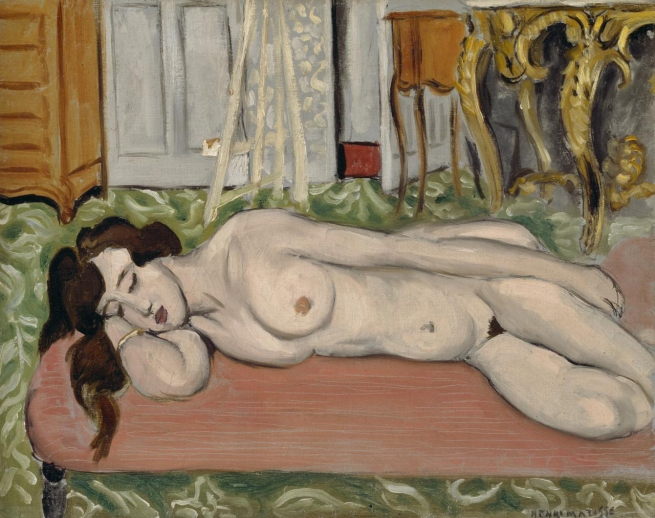 Henri Matisse (France 1869-1954) 'Reclining nude on a pink couch' 1919