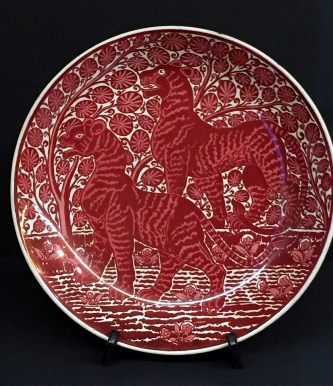William De Morgan (designer, England 1839-1917) 'Startled tigers, dish' c. 1880