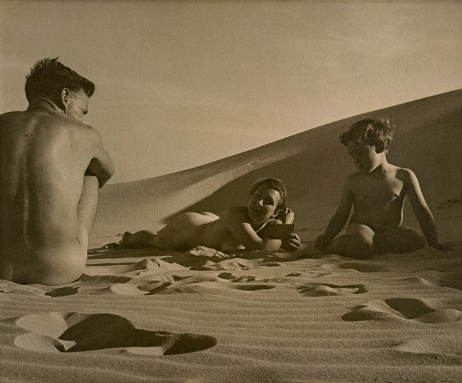Max Dupain (Australia 1911-92) 'On the beach. Man, woman, boy' 1938