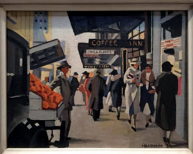Installation view of Herbert Badham's 'George Street, Sydney' (1934) from the exhibition 'Brave New World: Australia 1930s' at NGVA