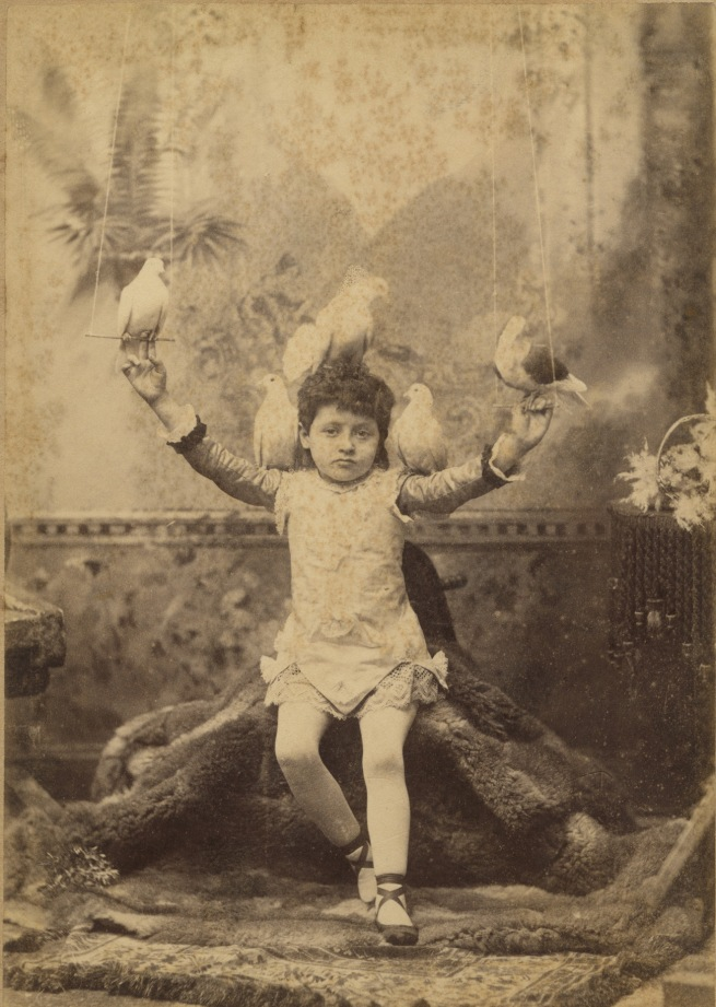 Elite Photo Co (Eddie Hutchison) 'Girl in ballet shoes, with pigeons' 1884-1891