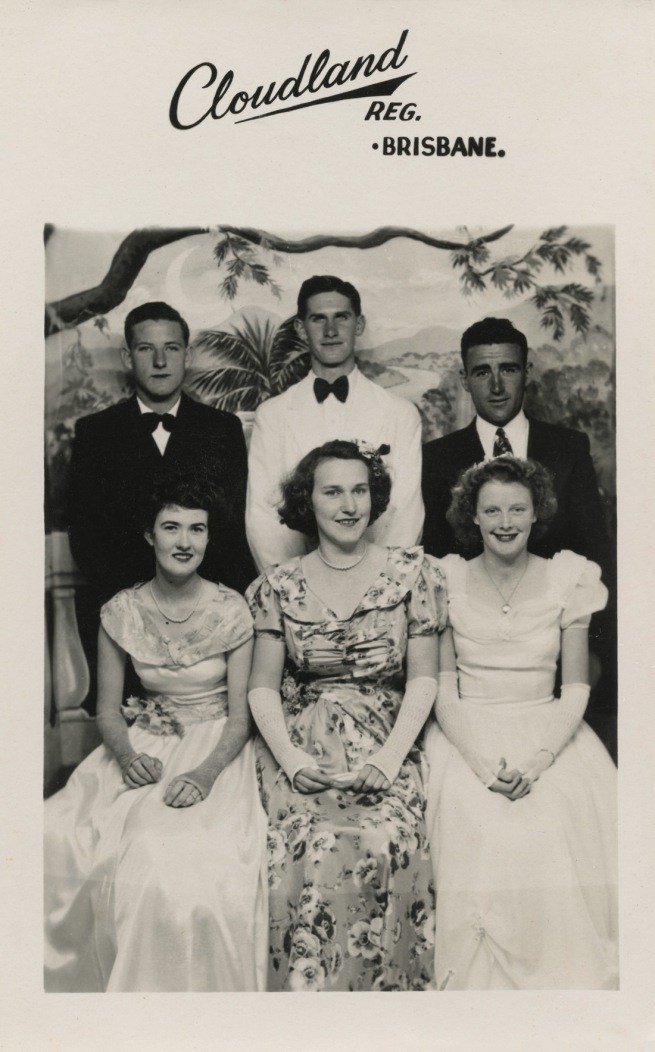 Anna Lee. 'Group of friends at Cloudland Ballroom, including Mrs Hobson (front left)' 1947-1950