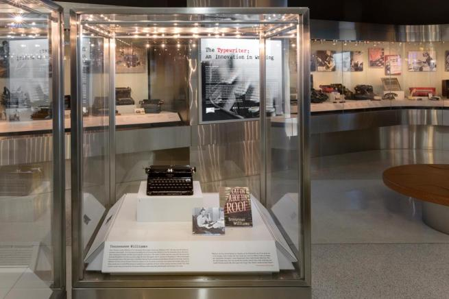 Installation view of the exhibition 'The Typewriter: An Innovation in Writing' at the SFO Museum, San Francisco International Airport