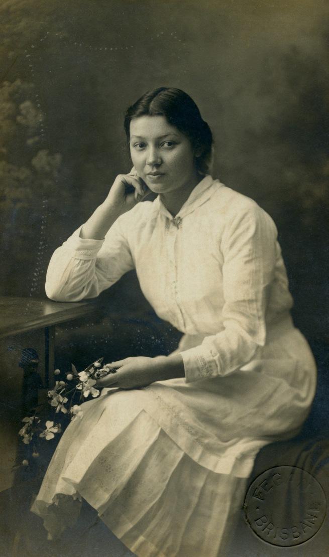 John 'Jack' Fegan. 'Lady holding flowers' c. 1915