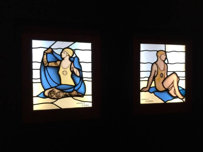 Installation view of 'Male lifesaver, window' and 'Female lifesaver, window' (both c. 1935)