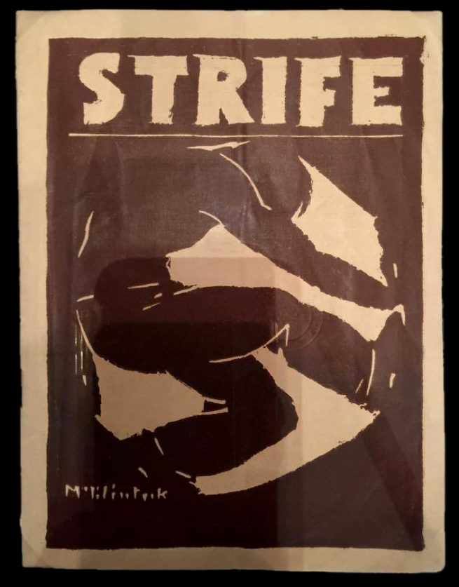 Installation view of Herbert McClintock's cover illustration for 'Strife', vol. 1, no. 1