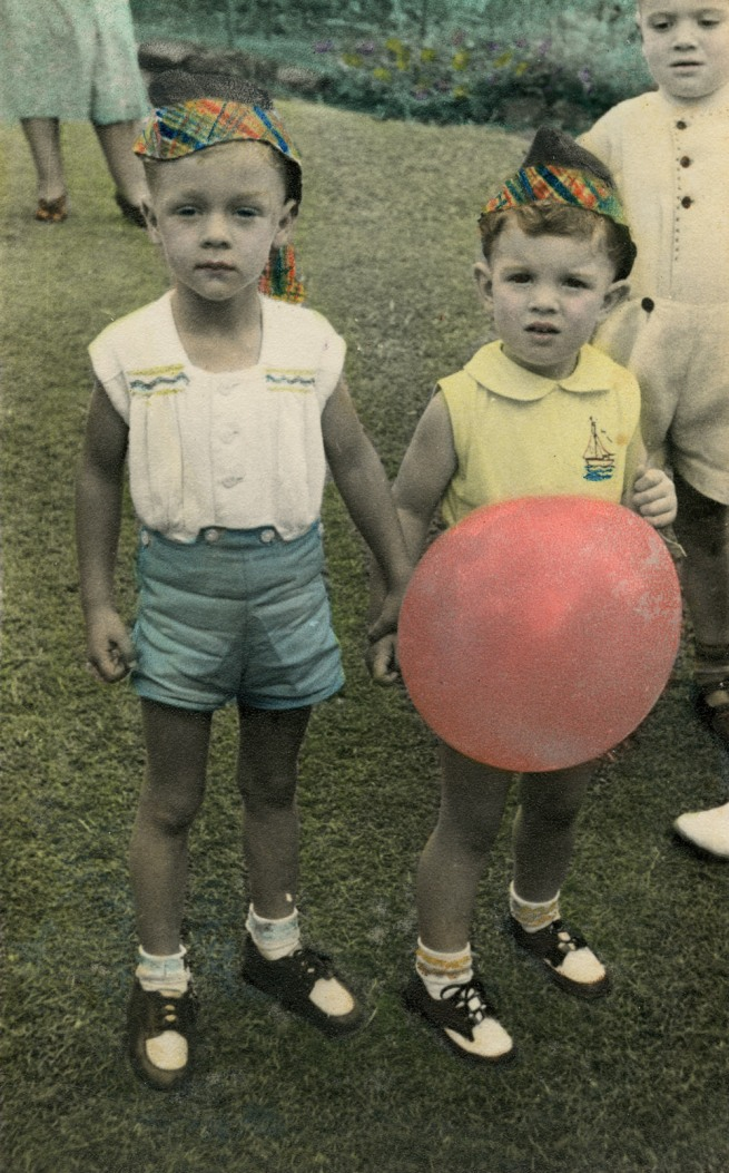 Paragon Portraits. 'Tim, nearly 4 years-old, and Darryl, 2 years-old, at the Caldwell Christmas party' 1949