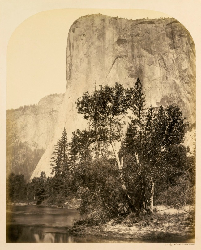 Carleton E. Watkins. 'Tutueamela, El Capitan, 3000ft, Yosemite' 1861