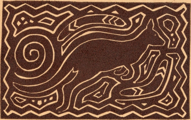 Frances Derham (Australia 1894–1987, New Zealand and Ireland 1902-08) Kangaroo and 'Aboriginal motifs' 1925-1940