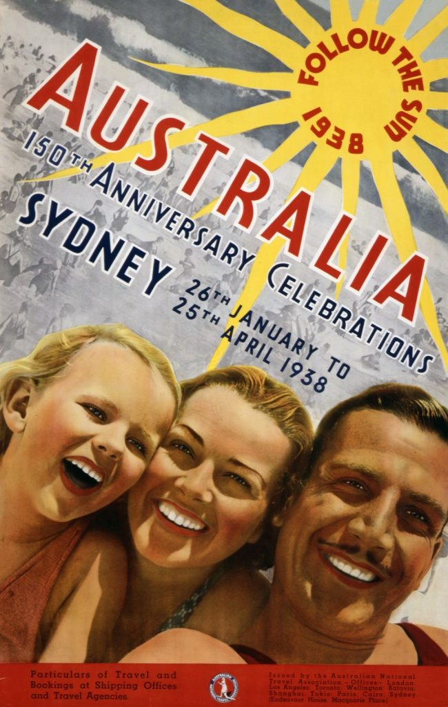 Douglas Annand (attributed to) (Australia 1903-76) 'Follow the sun - Australia's 150th Anniversary celebrations' 1938
