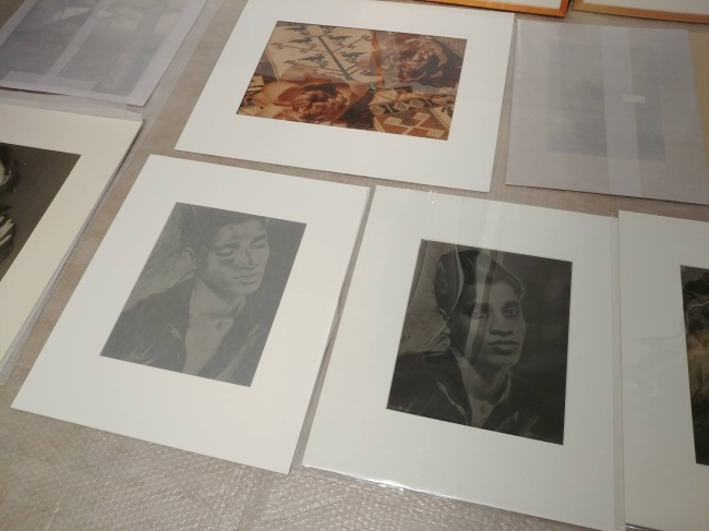 Installation of photographs for the exhibition