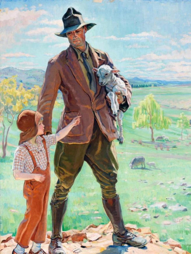 Hilda Rix Nicholas (Australia 1884-1961, Europe 1911-18) 'The shepherd of Knockalong' 1933