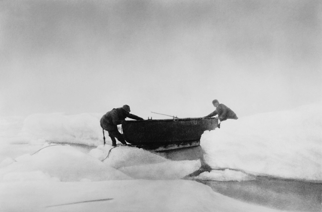 Nils Strindberg. 'Moving a boat through the icy waters' 1897/1930