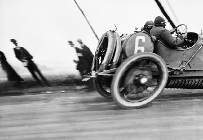 Jacques Henri Lartigue. 'Une Delage au Grand Prix de l'Automobile Club de France, circuit de Dieppe' June 26, 1912