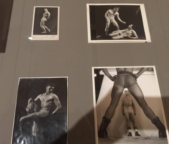 Installation view of physique album pages