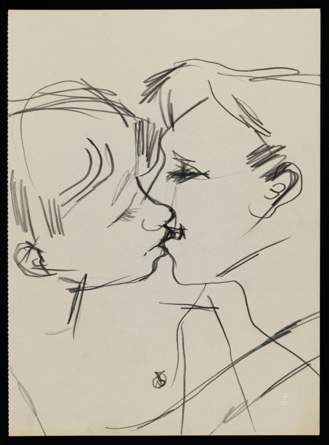 Keith Vaughan (1912-1977) 'Drawing of two men kissing' 1958-73