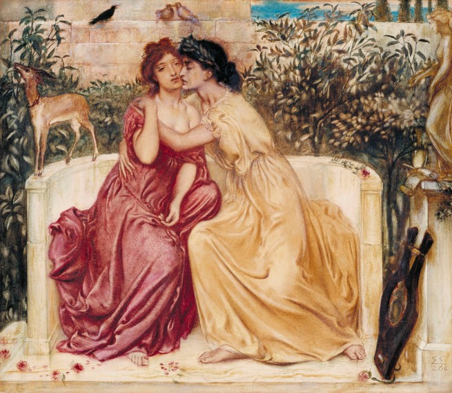 Simeon Solomon (1840-1905) 'Sappho and Erinna in a Garden at Mytilene' 1864
