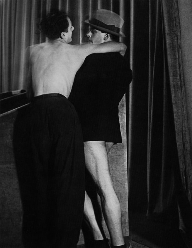 Brassaï. 'Young couple wearing a two-in-one suit at Bal De La Montagne Saint-Genevieve' 1931