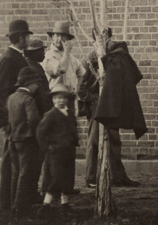 J W Lindt. 'Body of Joe Byrne, member of the Kelly Gang, hung up for photography Benalla' 1880 (detail)
