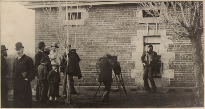 J W Lindt. 'Body of Joe Byrne, member of the Kelly Gang, hung up for photography Benalla' 1880