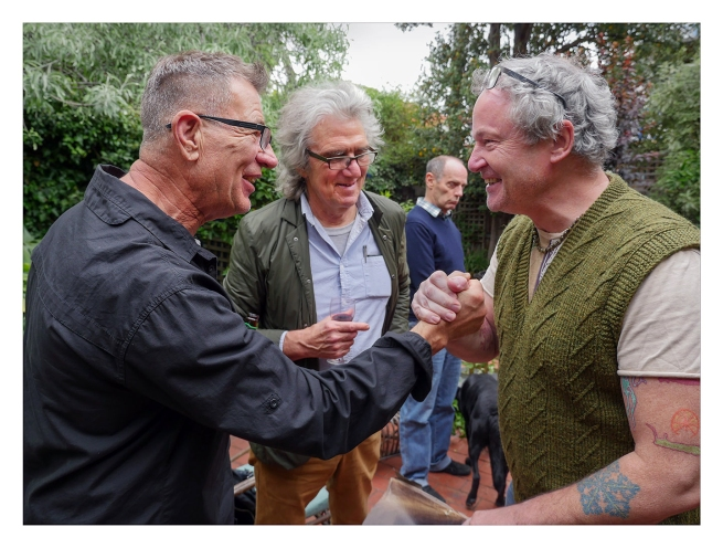 Peter Leiss. 'Untitled [At the gathering for WilliamHeimerman: Jeff Busby, Conrad Winkler and Marcus Bunyan]' Melbourne, 2017