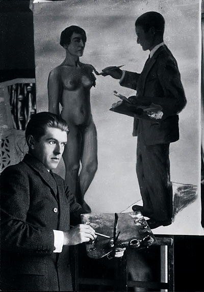 Unknown photographer. 'René Magritte painting 'Attempting the Impossible'' 1928