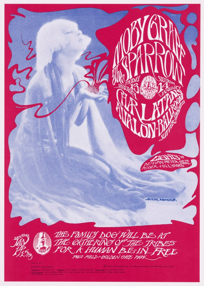 Stanley Miller (Mouse) (American, born in 1940) and Alton Kelley (American, 1940-2008) 'Moby Grape, Sparrow, The Charlatans (Avalon Ballroom, 13-14 January 1967)' 1967