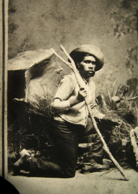 Unknown photographer. 'Untitled [Portrait of Tracker Johnny from Maryborough District one of five trackers who helped track Ned Kelly]' c. 1880