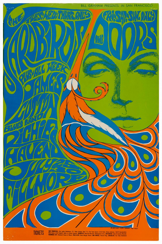 Bonnie MacLean (American, born in 1939) 'The Yardbirds, The Doors, James Cotton Blues Band, Richie Havens (Fillmore Auditorium, 25-30 July 1967)' 1967