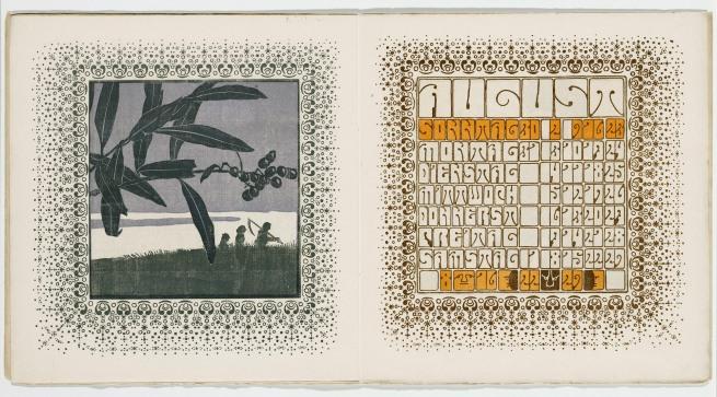 Alfred Roller (Austrian, 1864-1935) 'Ver Sacrum Calendar: August' 1902