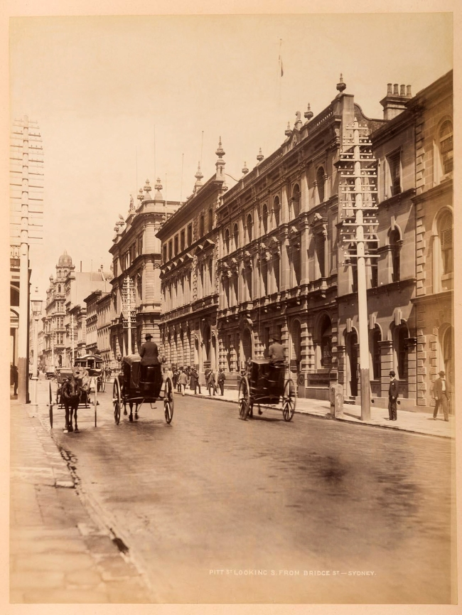 Unknown photographer. 'Pitt St. looking S. from Bridge St., Sydney' 1895