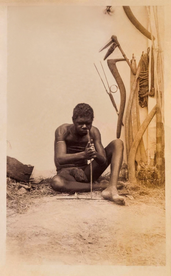 Unknown photographer. 'Untitled [Aboriginal making fire]' Nd