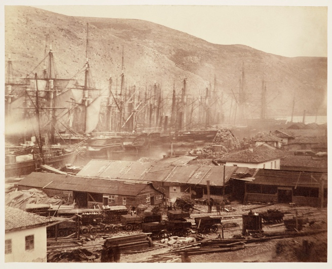 Roger Fenton (1819-69) 'Railway sheds and workshops at Balaklava' 15 Mar 1855