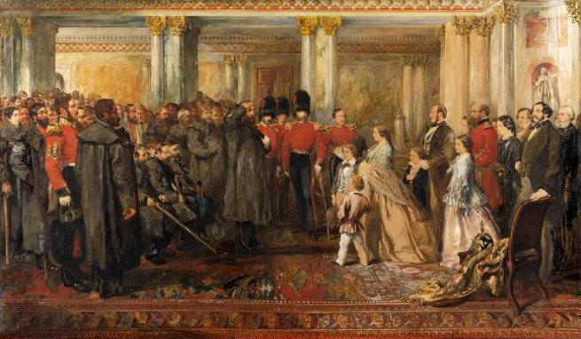 John Gilbert. 'The Queen Inspectingwounded ColdstreamGuards in the Hall ofBuckingham Palace, 22 February 1855' 1856