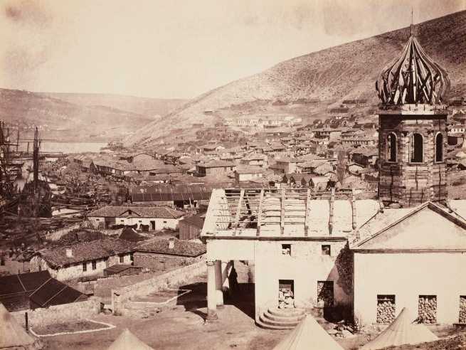 Roger Fenton (1819-69) 'Balaklava from the Russian Church, Upper Harbour, and Church of Kadikoi in the distance' 1855