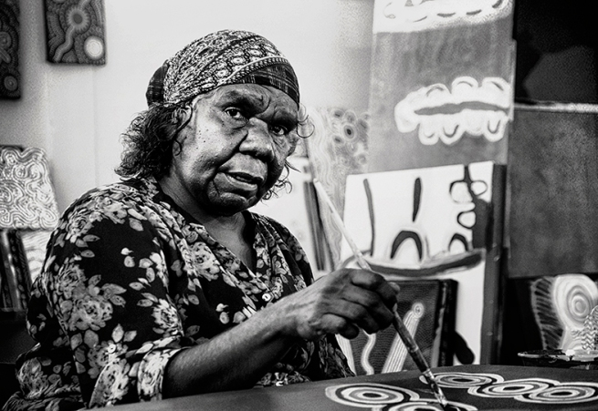 Judith Crispin. 'Sonya Napaljarri Cook Painting' 2015