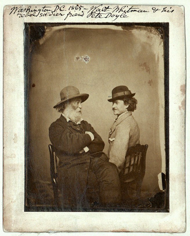 M. P. Rice. 'American poet Walt Whitman and his 'rebel soldier friend', Pete Doyle' Walt Whitman and Peter Doyle, Washington DC. c. 1865