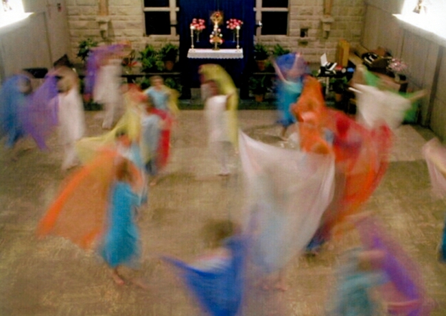 A performance by the Natural Dance Movement in silk robes c. 2000
