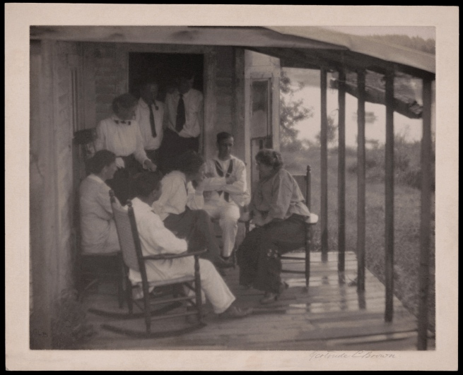 Gertrude L. Brown (approximately 1870-1934) 'Clarence H. White (seated center), Gertrude Käsebier (seated right), and students, Summer School of Photography, Five Islands, Maine' c. 1913
