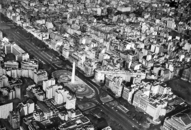 Juan Di Sandro (Argentine, born Italy, 1898-1988) 'Avenida 9 de julio con obelisco. Vista panorámica' / 'Avenida 9 de Julio with Obelisk. Panoramic View' 1956