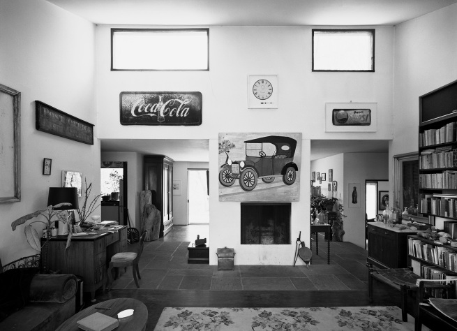 John T. Hill. 'Interior of Walker Evans's House, Fireplace with Painting of Car' 1975, printed 2017