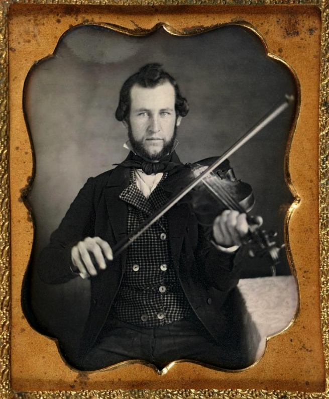 Unknown photographer (American) 'Untitled [Portrait of violinist holding instrument]' c. 1855