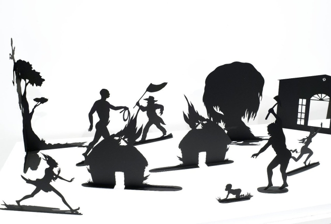 Kara Walker (born in 1969, Stockton, California; lives and works in New York, USA) 'Burning African Village Play Set with Big House and Lynching' 2006 (detail)